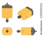 dc motor colored. black outline. | Shutterstock .eps vector #1102522121