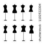 silhouette of fashion dress... | Shutterstock .eps vector #1102522304