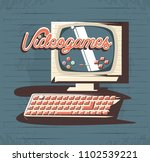 video game retro with computer | Shutterstock .eps vector #1102539221