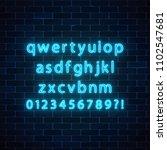 vector neon style font. glowing ... | Shutterstock .eps vector #1102547681