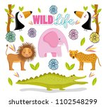 wildlife cute animals | Shutterstock .eps vector #1102548299