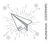 hand drawer paper plane   Shutterstock .eps vector #1102554491