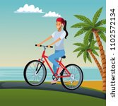 young woman with bike | Shutterstock .eps vector #1102572134