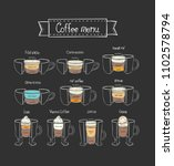 coffee menu.  different types.... | Shutterstock .eps vector #1102578794
