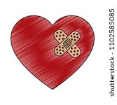 heart with bandage scribble | Shutterstock .eps vector #1102585085
