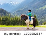 kids riding pony in the alps... | Shutterstock . vector #1102602857