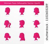 set of beautiful woman face... | Shutterstock .eps vector #1102603289