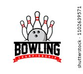 professional bowling club badge ... | Shutterstock .eps vector #1102639571