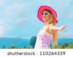 pretty young woman with arms... | Shutterstock . vector #110264339