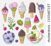 a set of cute vector hand drawn ... | Shutterstock .eps vector #1102687157
