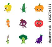 veggie icons set. cartoon set... | Shutterstock .eps vector #1102706831