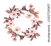 floral wreath with watercolor...   Shutterstock . vector #1102729307