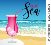summer greeting beach view with ... | Shutterstock .eps vector #1102732601