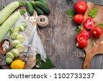 raw cut zucchini  cucumbers and ... | Shutterstock . vector #1102733237