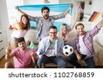 cheerful group of friends... | Shutterstock . vector #1102768859