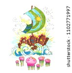 sea breeze. hand painted ship... | Shutterstock . vector #1102771997