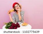 dreamy cute lady in red beret ... | Shutterstock . vector #1102775639
