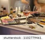 wine glasses on table in...   Shutterstock . vector #1102779461