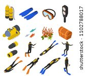 scuba diving signs 3d icons set ... | Shutterstock .eps vector #1102788017