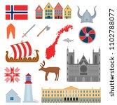 cartoon norwegian travel and... | Shutterstock .eps vector #1102788077
