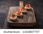 mini sandwiches with cream... | Shutterstock . vector #1102807757