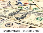dollars usa. background of 100... | Shutterstock . vector #1102817789