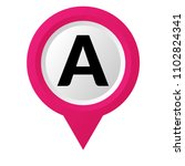 letter a and map pointer