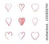 hend drawn red hearts. love...   Shutterstock .eps vector #1102826744