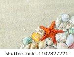 beach and summer background  ... | Shutterstock . vector #1102827221