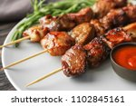 barbecue skewers with juicy... | Shutterstock . vector #1102845161