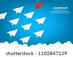 red paper plane leading white... | Shutterstock .eps vector #1102847129
