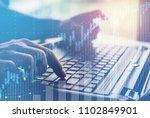 hands using laptop with... | Shutterstock . vector #1102849901