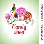 realistic candies  colorful... | Shutterstock .eps vector #1102859027