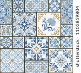 majolica pottery tile  blue and ... | Shutterstock .eps vector #1102859804
