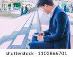 handsome asian men in suit...   Shutterstock . vector #1102866701