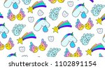 unicorns star wings paw print.... | Shutterstock .eps vector #1102891154