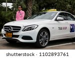 Small photo of Bangkok, Thailand - 1 June, 2018: The Department of Land Transport in cooperate with All Thai Taxi Company launched premium taxi service for first day using Mercedes-Benz C350e.