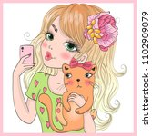 hand drawn beautiful cute...   Shutterstock .eps vector #1102909079