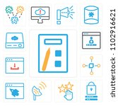 set of 13 icons such as print ...