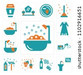 set of 13 icons such as bathtub ...