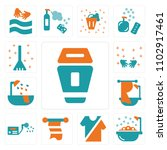 set of 13 icons such as trash ...