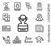 set of 13 icons such as surgeon ...