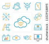 set of 13 icons such as wifi ...