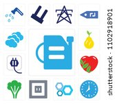 set of 13 icons such as oil can ...