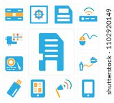 set of 13 icons such as memory...