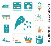 set of 13 icons such as shower  ...