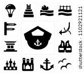 set of 13 icons such as boat...