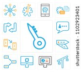 set of 13 icons such as key ...