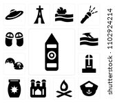set of 13 icons such as big ben ...