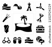 set of 13 icons such as palm...